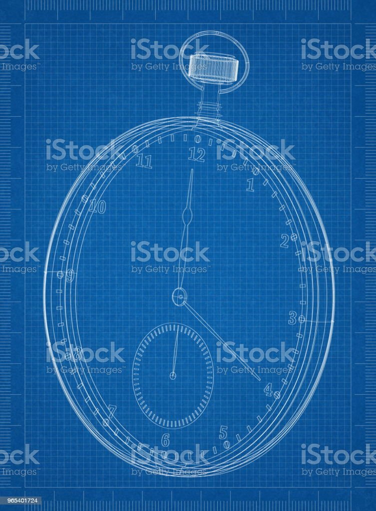 Classic Pocket Watch Architect blueprint royalty-free stock photo