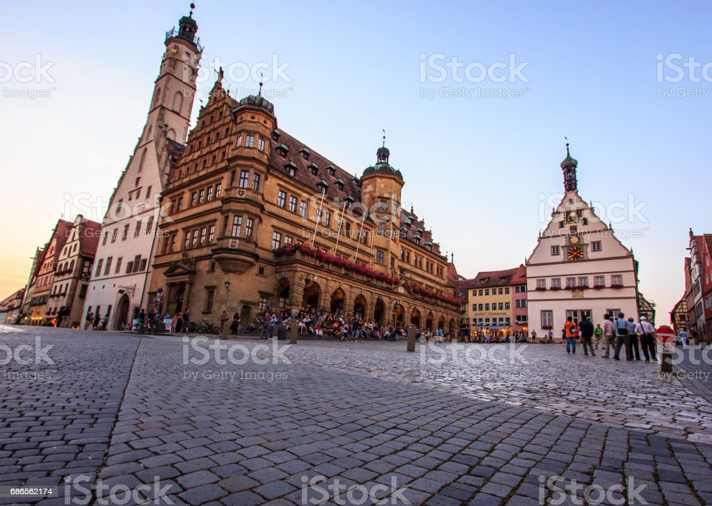 Classic postcard twilight view of the medieval old town of Rothenburg ob der Tauber, Franconia, Bavaria, Germany royalty-free stock photo