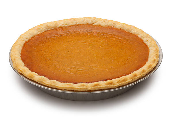 classic pumpkin pie isolated on white background - pumpkin pie 個照片及圖片檔