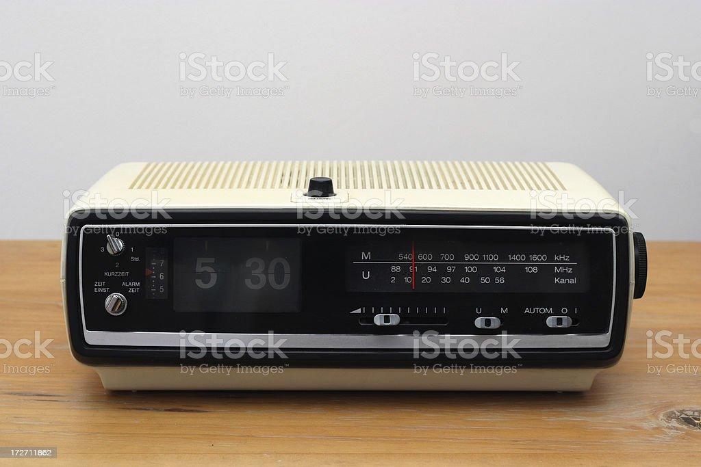 classic radio alarm clock stock photo