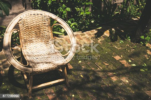 istock Classic rattan chair decorate in the outdoors garden 877299990