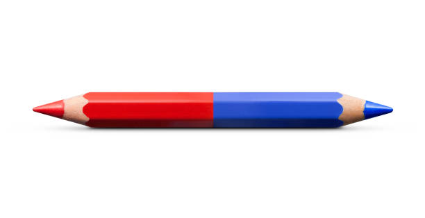 classic red and blue checking pencil on a white background - symmetry stock pictures, royalty-free photos & images