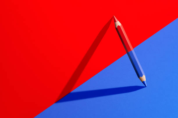 Classic red and blue pencil with shadow in red and blue corner Classic red and blue checking pencil with shadow in red and blue corner. symmetry stock pictures, royalty-free photos & images