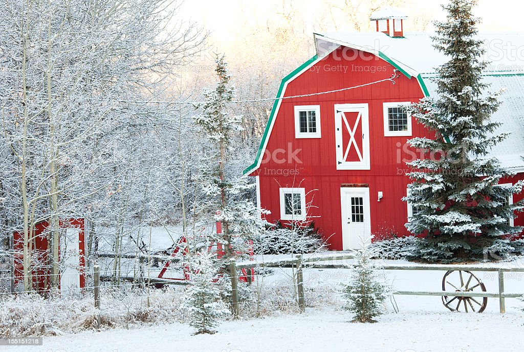 Classic Red Barn in Winter royalty-free stock photo