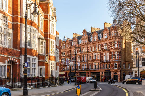 Classic red brick building in Mayfair, London stock photo