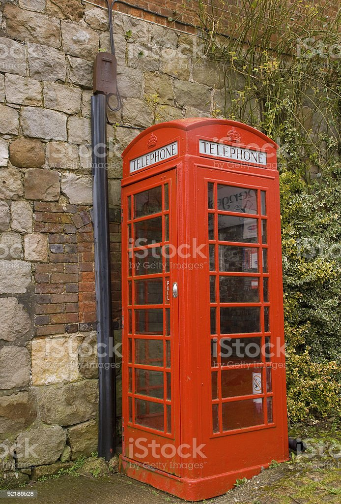 Classic Red British Telephone Box  British Culture Stock Photo