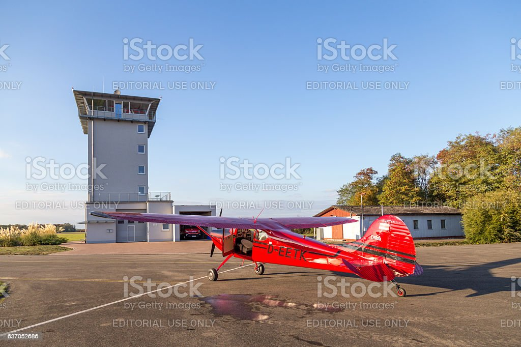 Classic Red Cessna 170 Aircraft Stock Photo More Pictures Of
