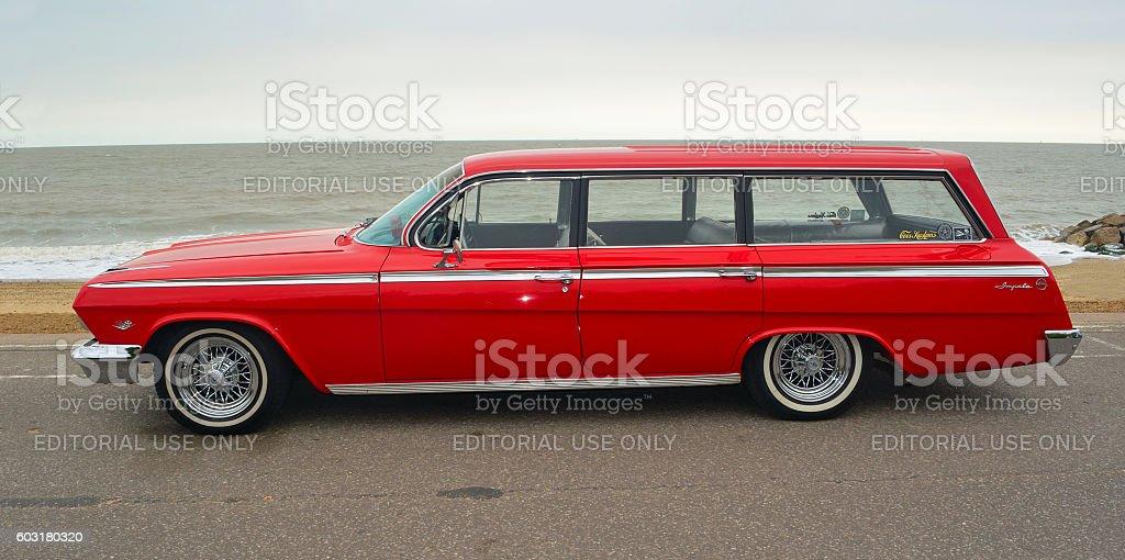 Classic Red Chevrolet Impala Station Wagon stock photo