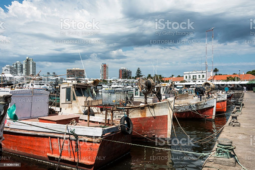 Classic Red Fishing Boats in Uruguay stock photo