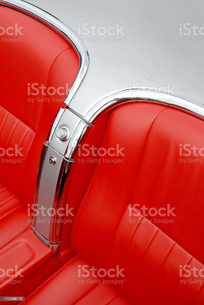 Classic Red Leather in Two-Seater Convertible royalty-free stock photo