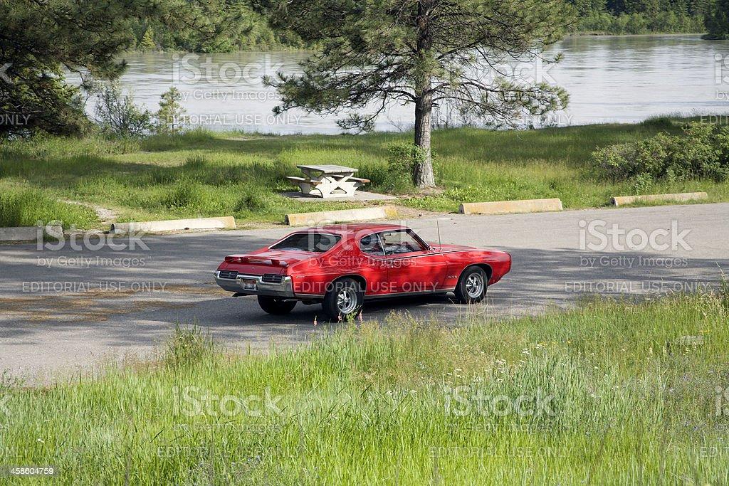 Classic Red Pontiac GTO stock photo