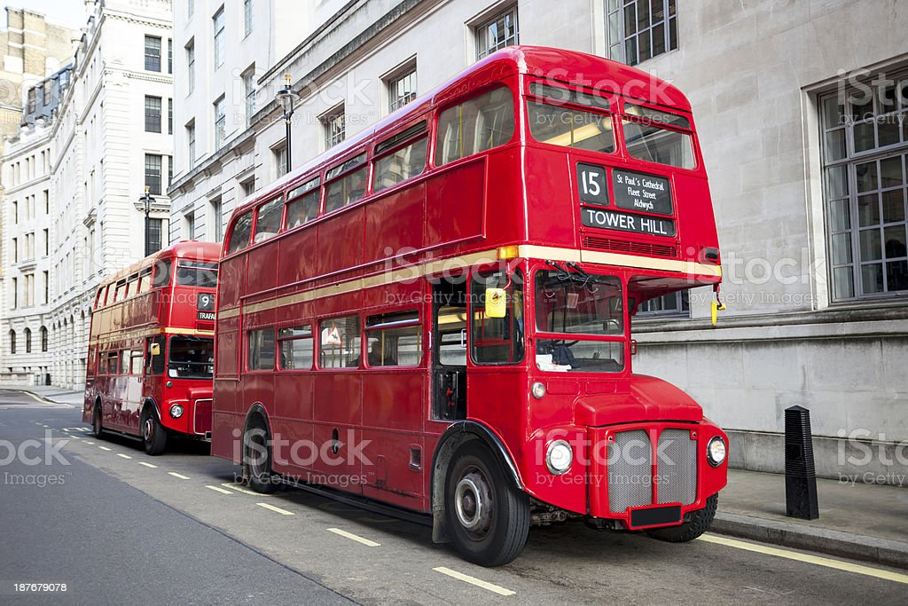 Classic Red 'Routemaster' Double Decker Buses,  London, England stock photo