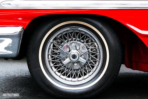 Closeup Classic red Sports Car wire wheel with a chrome finish, full frame horizontal composition