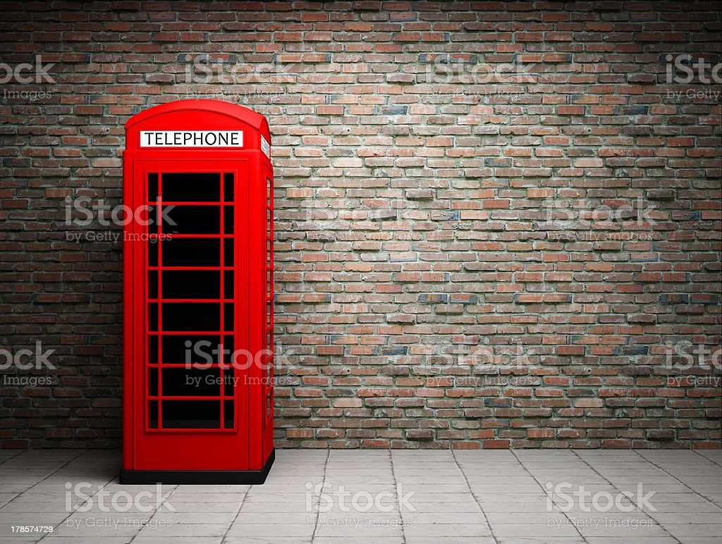 Classic red telephone booth stock photo