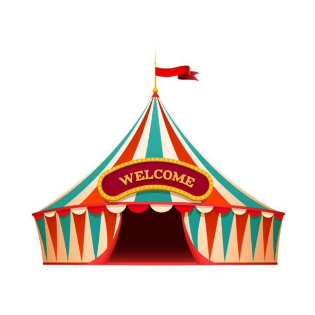 klassisches rot-gelbes zirkuszelt auf wite hintergrund mit dekorativem schild-willkommene, isolierte illustration - faschingssprüche stock-fotos und bilder