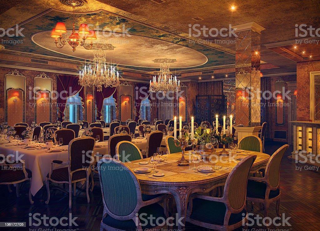 Klasyczne Wnętrze restauracji - Zbiór zdjęć royalty-free (Antyczny)