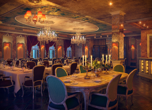 Klasyczne Wnętrze Restauracji - zdjęcia stockowe i więcej obrazów Antyczny