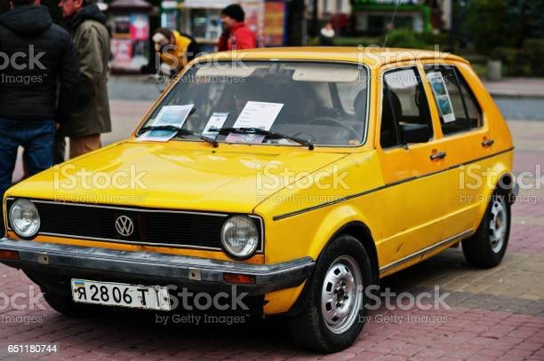 "Tarnopol, Ukraine - October 09, 2016: Classic retro car yellow Volkswagen Golf Mk1, first-generation Golf , produced 1974""u20131984"