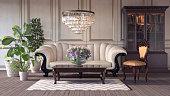 Classic retro interior design of living room 3d Render 3d illustration