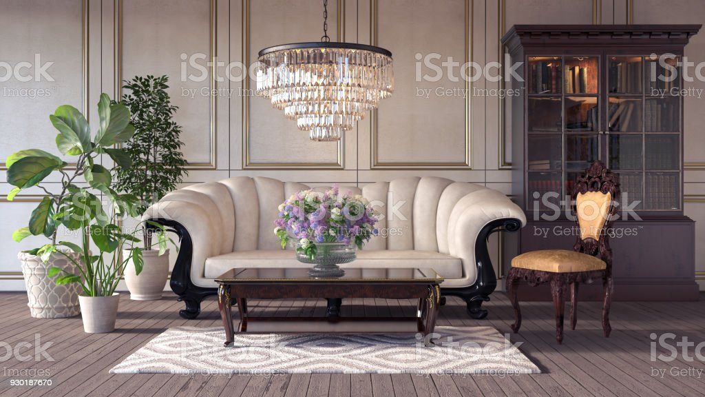 Classic retro interior design of living room 3d Render stock photo