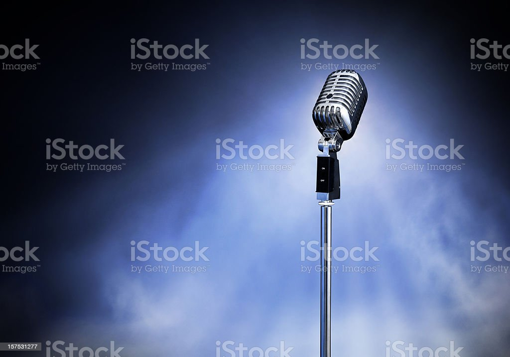 Classic Retro Style Modern Microphone on Stage (XXXL) stock photo