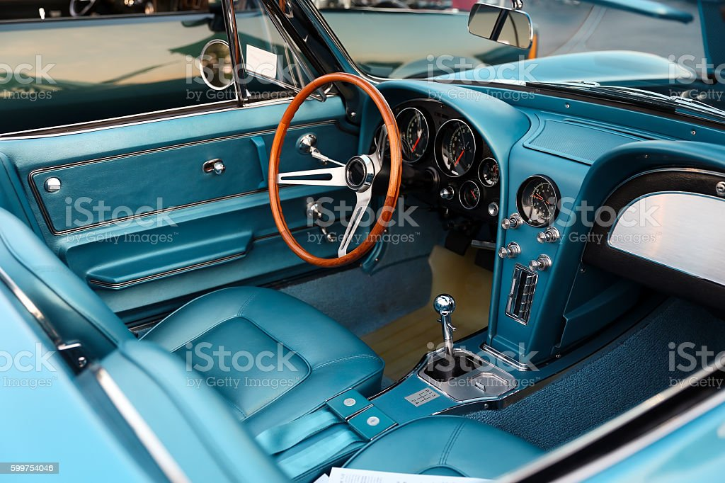 classic retro  vintage blue car. Car interior – Foto