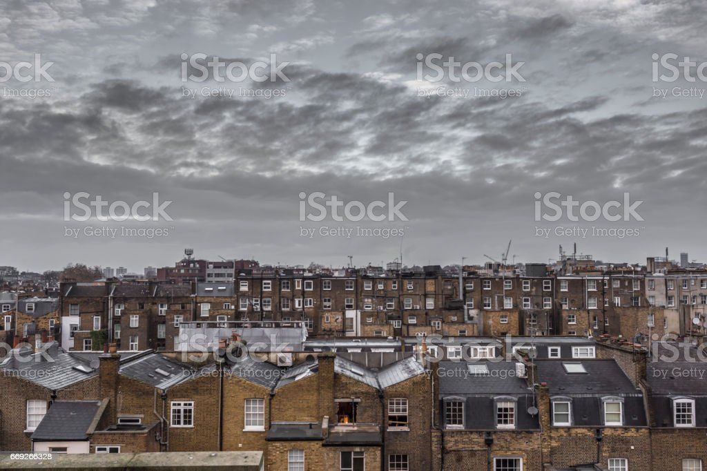 Classic rooftops in London stock photo