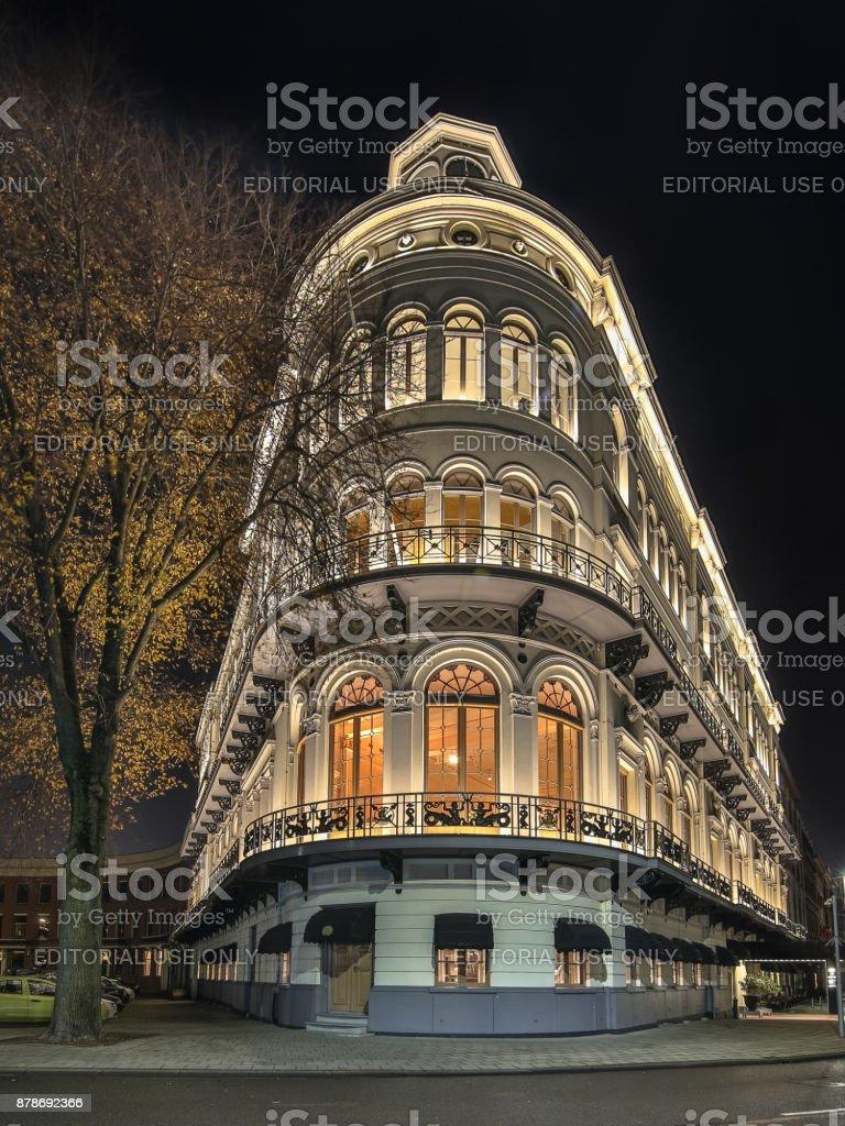 Classic round corner facade Rotterdam stock photo