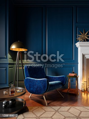 istock Classic royal blue color interior with armchair, fireplace, candle, floor lamp, carpet. 3d render illustration mock up. 1206189312