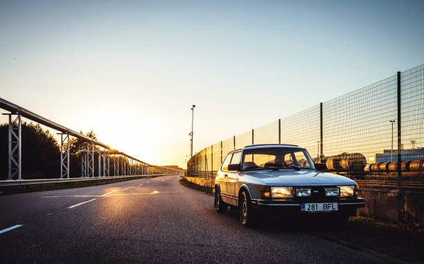 Classic Saab Muuga, Estonia - August 12, 2014: Early 80s classic Saab 900 Turbo parked on the roadside in industrial zone. saab stock pictures, royalty-free photos & images
