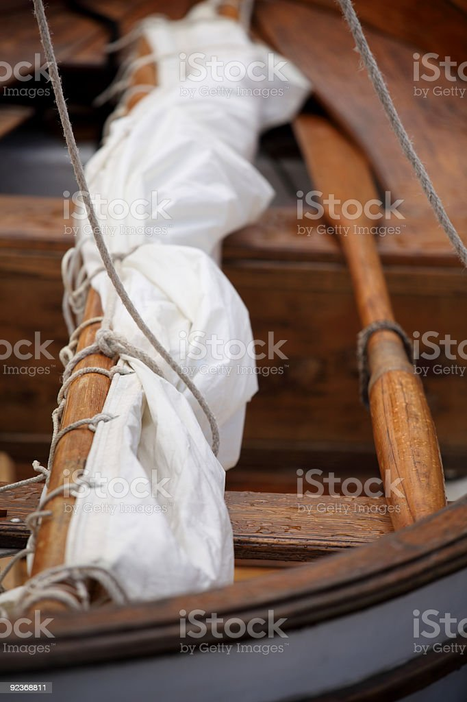 Classic sail boat details royalty-free stock photo
