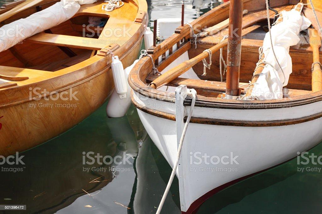 Classic sailboat details stock photo