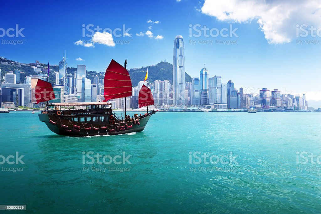 Classic sailboat in Hong Kong harbor stock photo