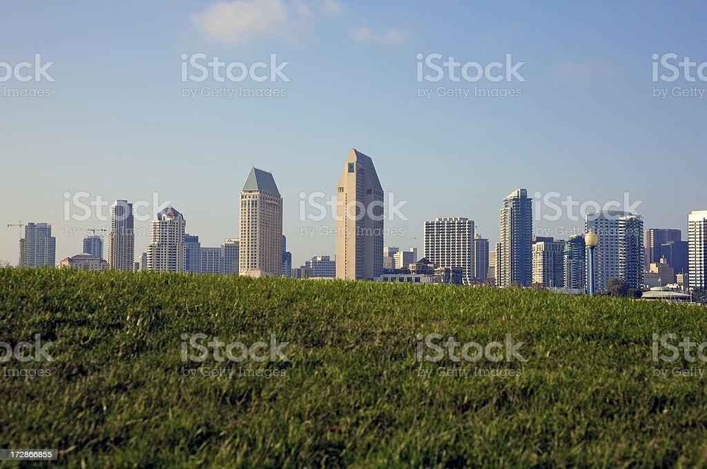 Klassische skyline von San Diego in der grünen Zone – Foto