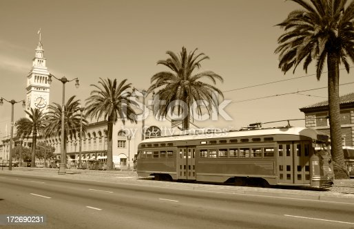 Retro style photo of the Ferry Building and Trolley at the Embarcadero in San Francisco, California.