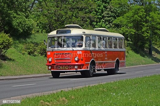 Warsaw, Poland - 20th, May, 2017: Classic San H-100B driving on the street. This bus was the one of the most popular city buses in Poland in 60s and 70s.