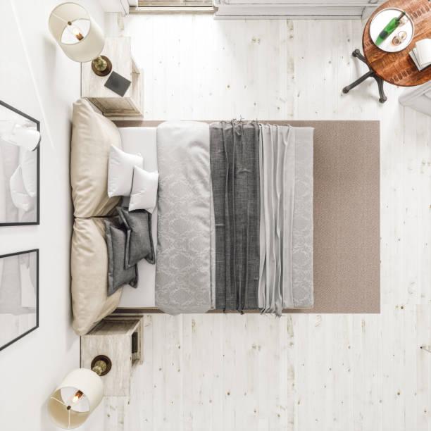 Klassischen skandinavischen Schlafzimmer aus Draufsicht – Foto