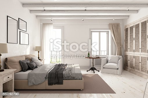 Interior of a classic Scandinavian bedroom.