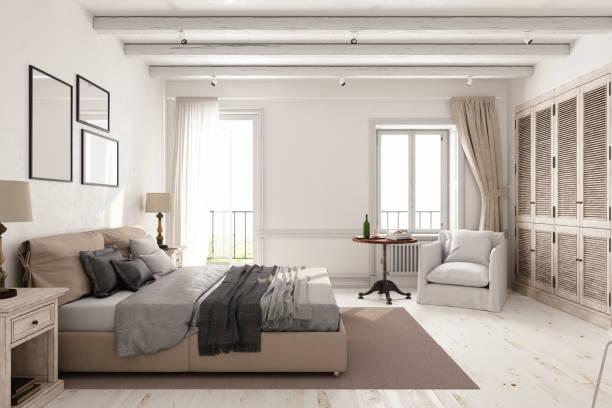 klassischen skandinavischen schlafzimmer - schlafzimmer stock-fotos und bilder