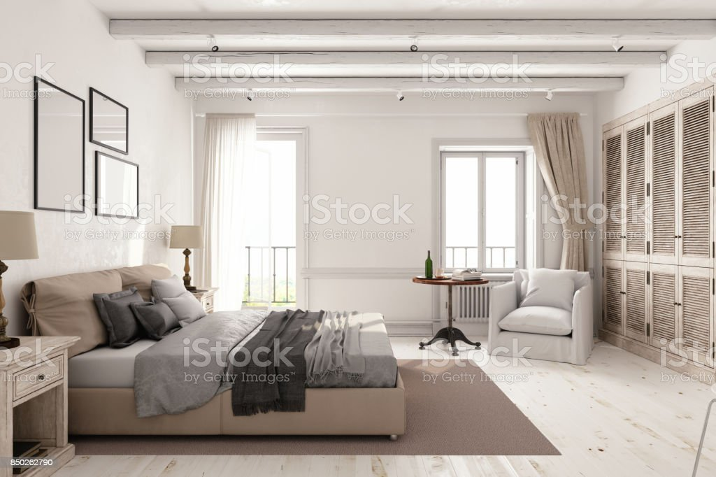 Classic Scandinavian Bedroom stock photo