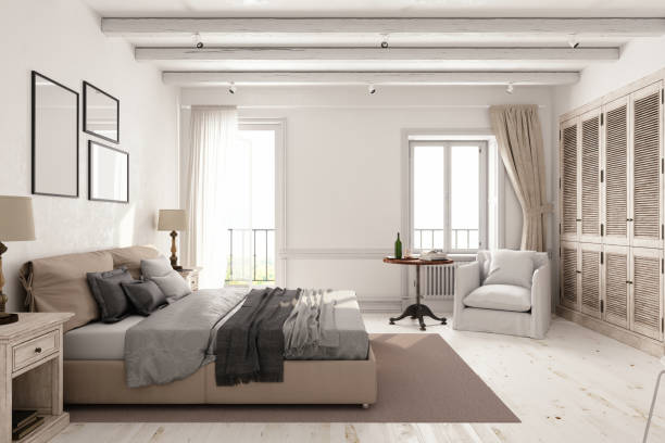 Classic Scandinavian Bedroom Interior of a classic Scandinavian bedroom. bedroom stock pictures, royalty-free photos & images
