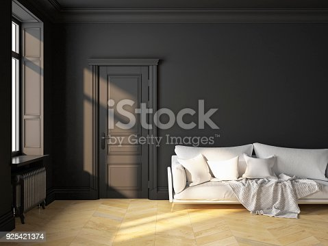 istock Classic scandinavian interior design black with sofa and pillows. 3D render illustration mock up. 925421374
