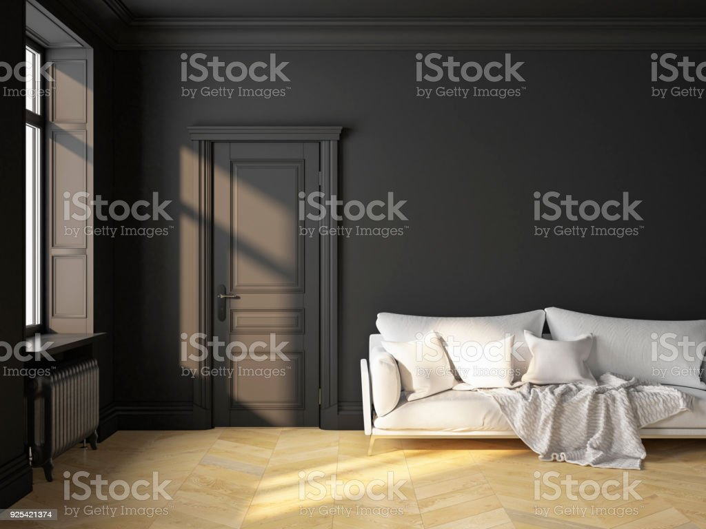 Classic scandinavian interior design black with sofa and pillows. 3D render illustration mock up. stock photo