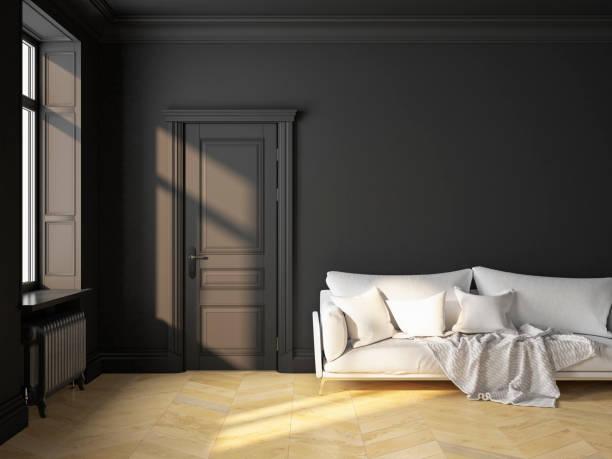 klassischen skandinavischen inneneinrichtung schwarz mit sofa und kissen. 3d-render abbildung mock up. - eingangshalle wohngebäude innenansicht stock-fotos und bilder