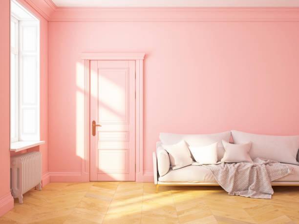 klassischen skandinavischen inneneinrichtung pink roze quarz mit sofa und kissen. 3d-render abbildung mock up - hellrosa zimmer stock-fotos und bilder