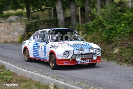 Nice, France - August 1st, 2014: Classic Skoda 130RS driving on the road. The Skoda 130RS was a rear-engined, rear-wheel drive sports car. This model was based on classic vehicle Skoda 110R Coupe (1970-80). Blurred photo.