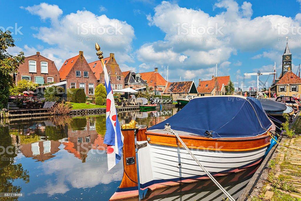 Classic sloop in Hindeloopen, The Netherlands stock photo