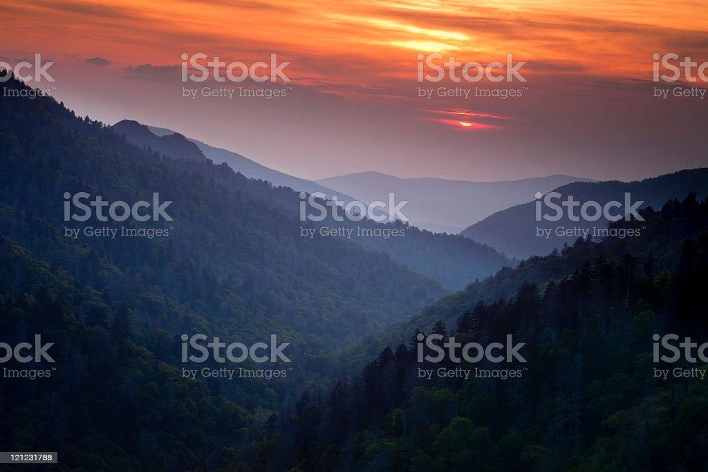 Classic Smoky Mountain Sunset stock photo