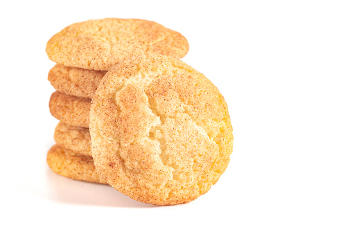 Classic Snickerdoodle Cookies Isolated on a White Background