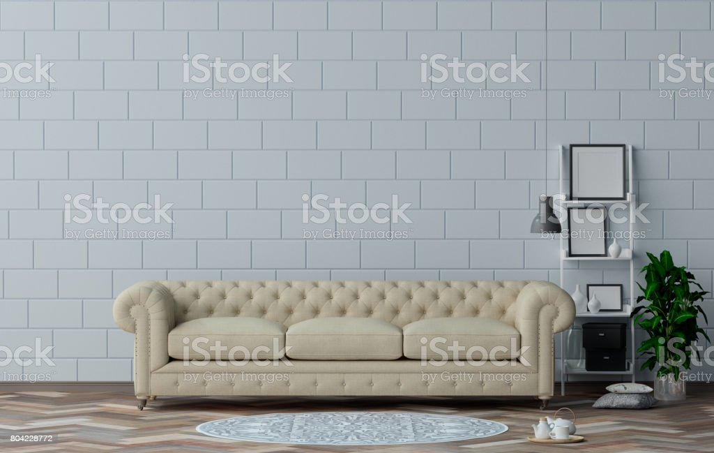Classic Sofa In Living Room Interior Design 3D Illustration And White Wall  Simple Furniture Set,